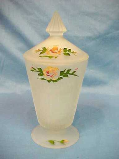 Depression Glass Satin Art Glass Covered Vase Jar Hand Painted Flowers