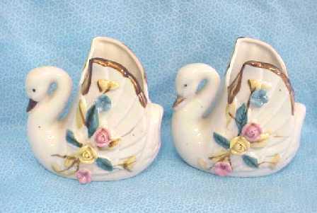 2 Porcelain China Swan Vase Set 1930s
