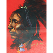 "Don Prechtel Native American Warrior ""Two Hatchets"" Original Painting"