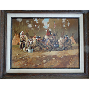 """The Guardians"" Native American Western Art Original Oil Painting on Canvas Don Prechtel"