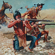 """Taking Aim"" Original Large Oil Painting Don Pretchel Native American Western Art"