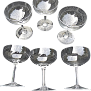 6 Scarce Baccarat Avranches Pattern Cut Crystal Stemware Goblet Champagnes 1905-1961 Produced