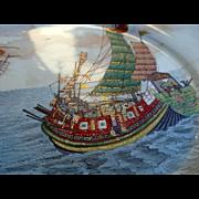 1890-1927 Japanese Satsuma Plates Chargers Kinkozan Tsukuru Signed Ship Scenics  6 Hand Painted All Different Rare