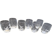 7 cut engraved Austrian Crystal glasses liquors juice Heirloom Animal scenics