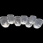 7 cut engraved Austrian Crystal glasses liquors juice Heirloom Animal scenics