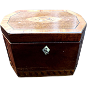 Antique English George III Period Tea Caddy Marquetry Inlaid Tea Box Tea Chest Circa 1780 Georgian