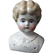 Antique Blond China Doll Head Pet Name Marion