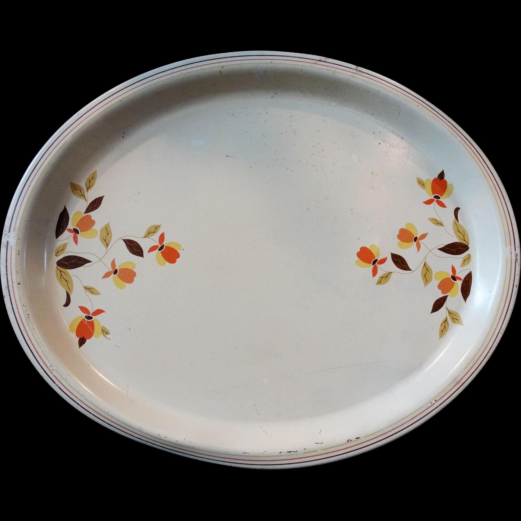 Hall China Jewel Tea Autumn Leaf Serving Tray  Metal