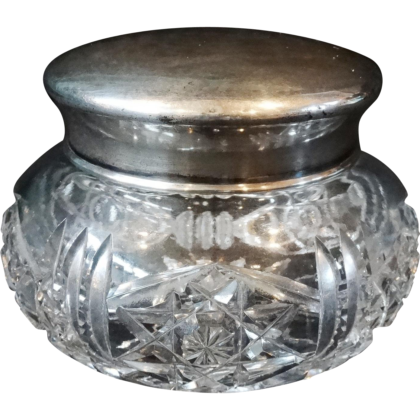ABCG Dresser Vanity Jar American Brilliant Cut Glass Bowl Sterling Cover Lid Antique