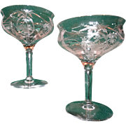 Elegant Depression Glass Pair Etched Champagne Wine Stems Crystal Stemware Perfect Bridal Wedding