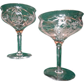 Elegant Depression Glass Pair Etched Champagne Wine Stems Crystal Stemware Perfect Bridal Wedding
