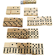 Vintage Dominoes Complete Set Bakelite Butterscotch Catalin With 6 Dice Die