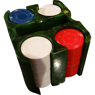 Vintage Marbled Catalin Bakelite Poker Set & Poker Chips