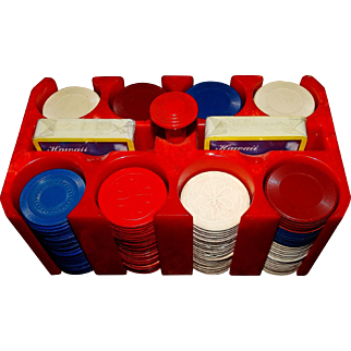 Poker Game Set Catalin Bakelite Red Marbled Case Chips & Cards