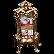 Miniature Rococo Vitrine Gilt Brass Glass China Cabinet Display Doll Child Accessory Vintage