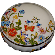 Aynsley Trinket Vanity Jar Bone China Cottage Garden Pattern Vintage
