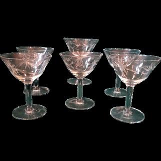 6 Vintage Crystal Champagne Wine Stemware Set Cut Pattern