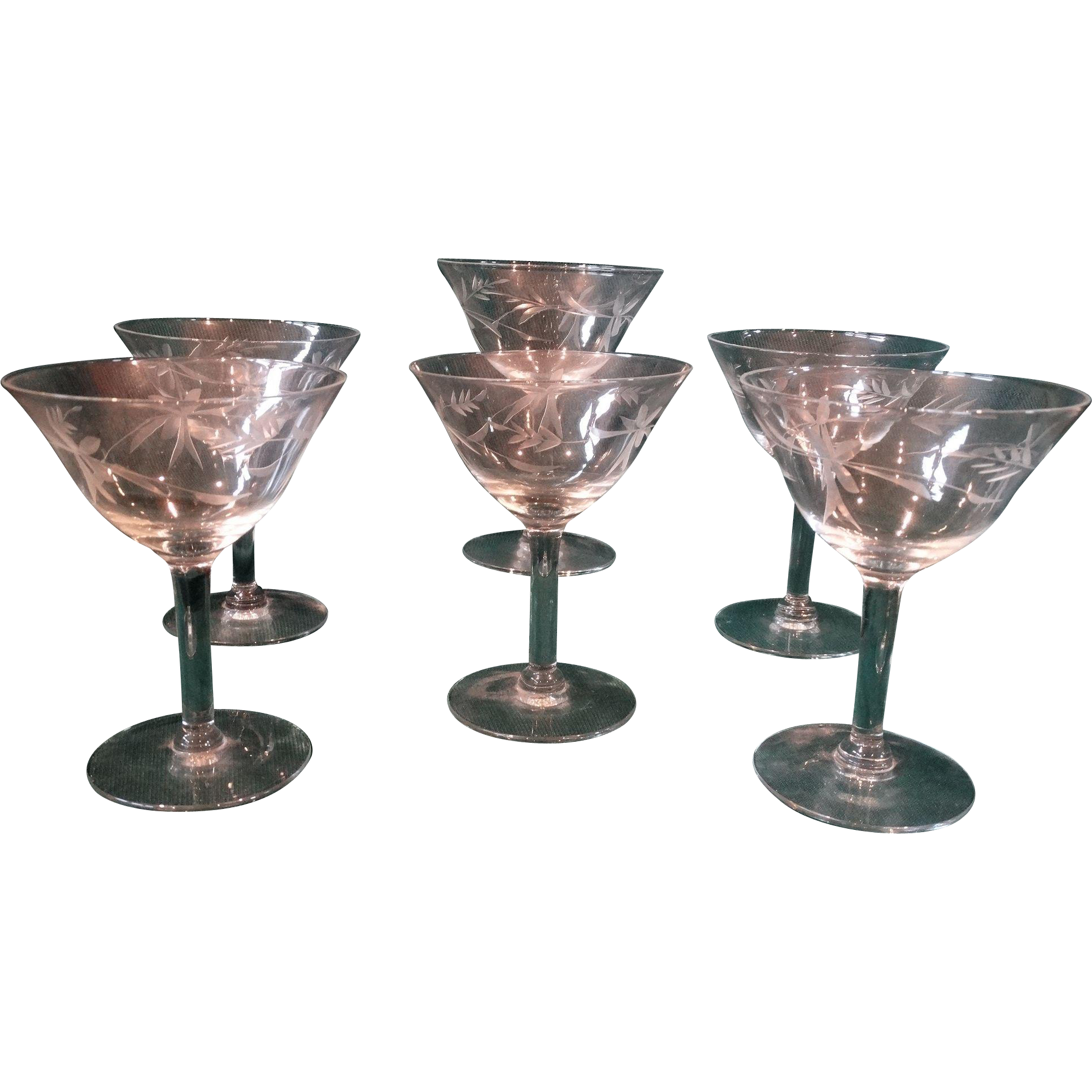 6 Vintage Crystal Champagne Wine Stemware Set Cut Pattern