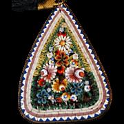 Antique Micro Mosaic Pendant Italian Floral Motif Pendant Necklace