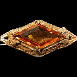 Edwardian Filigree Etruscan Amber Crystal Brooch Pin