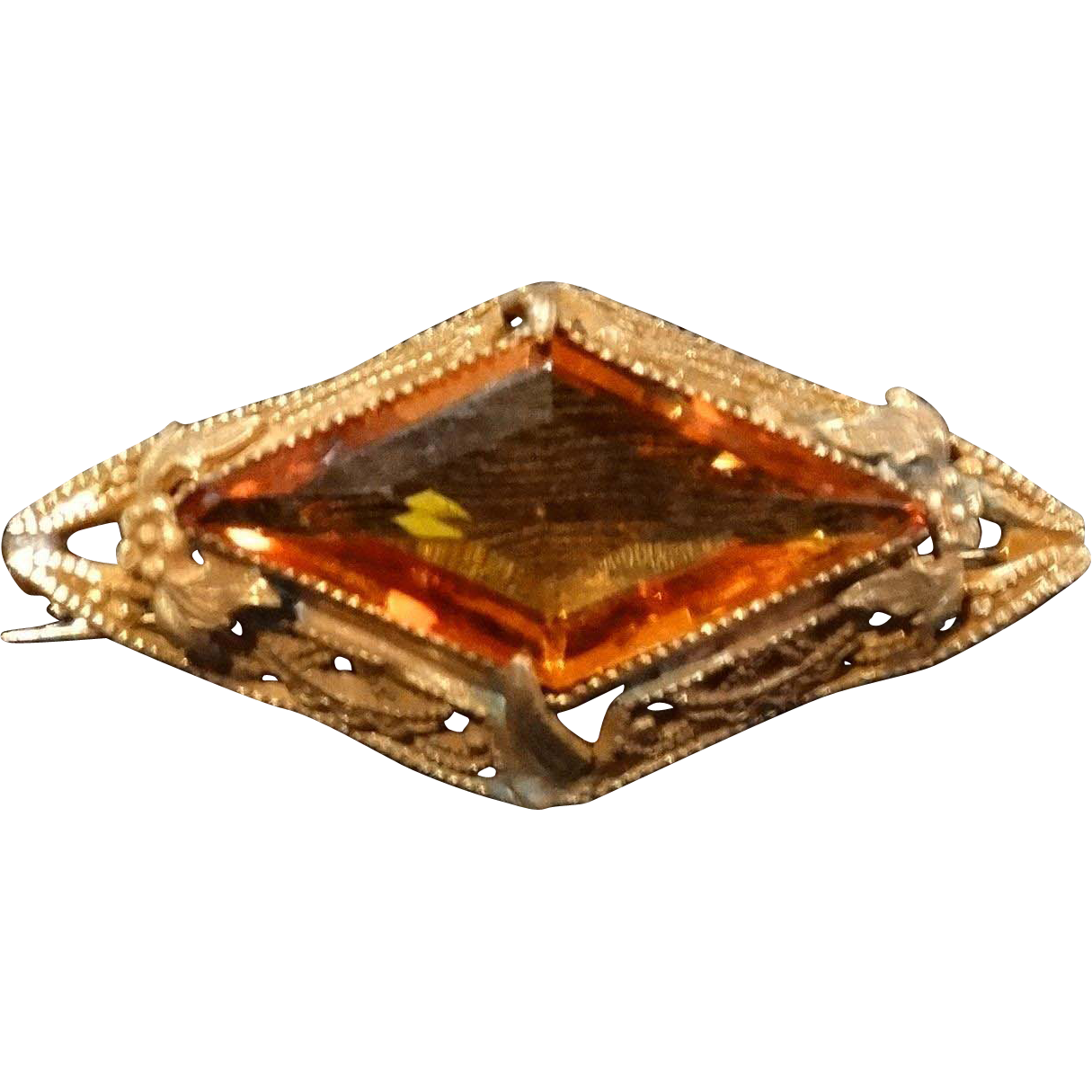 Edwardian Filigree Etruscan Amber Crystal Brooch Pin