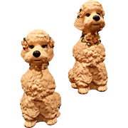 Pair Poodle Statuary Mid Century Porcelain Large Figurines Rhinestones Spaghetti Variation