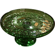 EAPG Cake Plate Child Children's Size Green Glass Antique Ribbon Candy