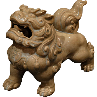 Chinese Ceramic Celedon Foo Dog Antique Qing Dynasty