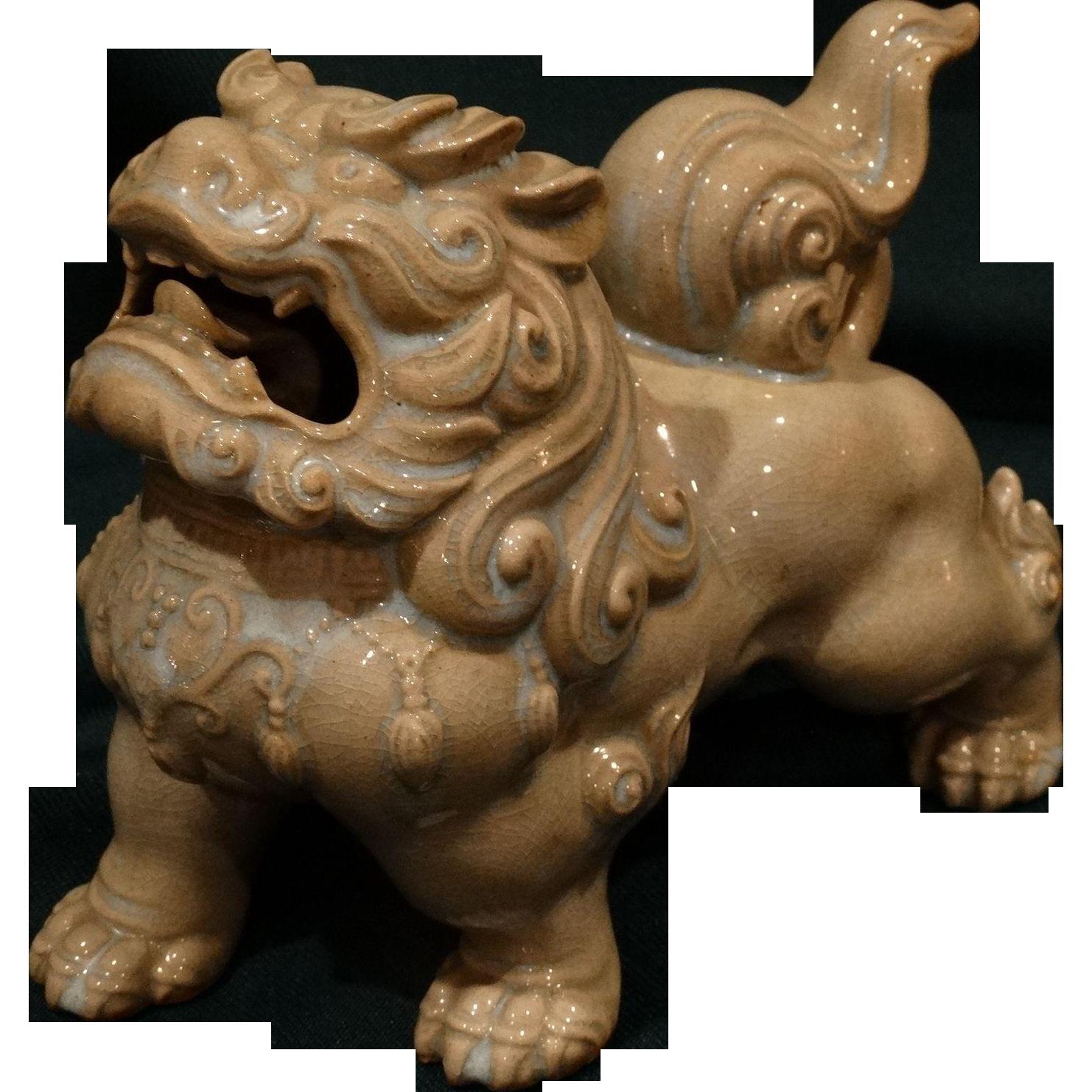 Chinese Ceramic Celedon Foo Dog Antique Qing Dynasty