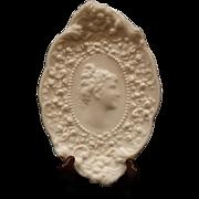 Fostoria Jenny Lind Milk Glass Trinket Vanety Tray