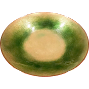 Retro Mid Century Green Enamel on Copper Irridescent Bowl Artist Signed  Jari