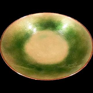 Retro Mid Century Green Enamel on Copper Irridescent Bowl Artist Signed  Jari