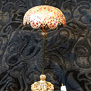 Vintage Light Dollhouse Miniature  Imitation Tiffany Pole Electric Lamp Works!