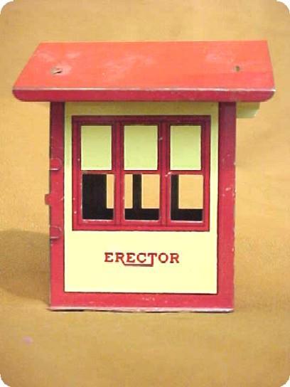 Tin Toy Train Station Erector Set Building Near Mint