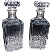 Heavy Crystal Decanter Set Matched Pair Decanters Liquor Bottles Heirloom