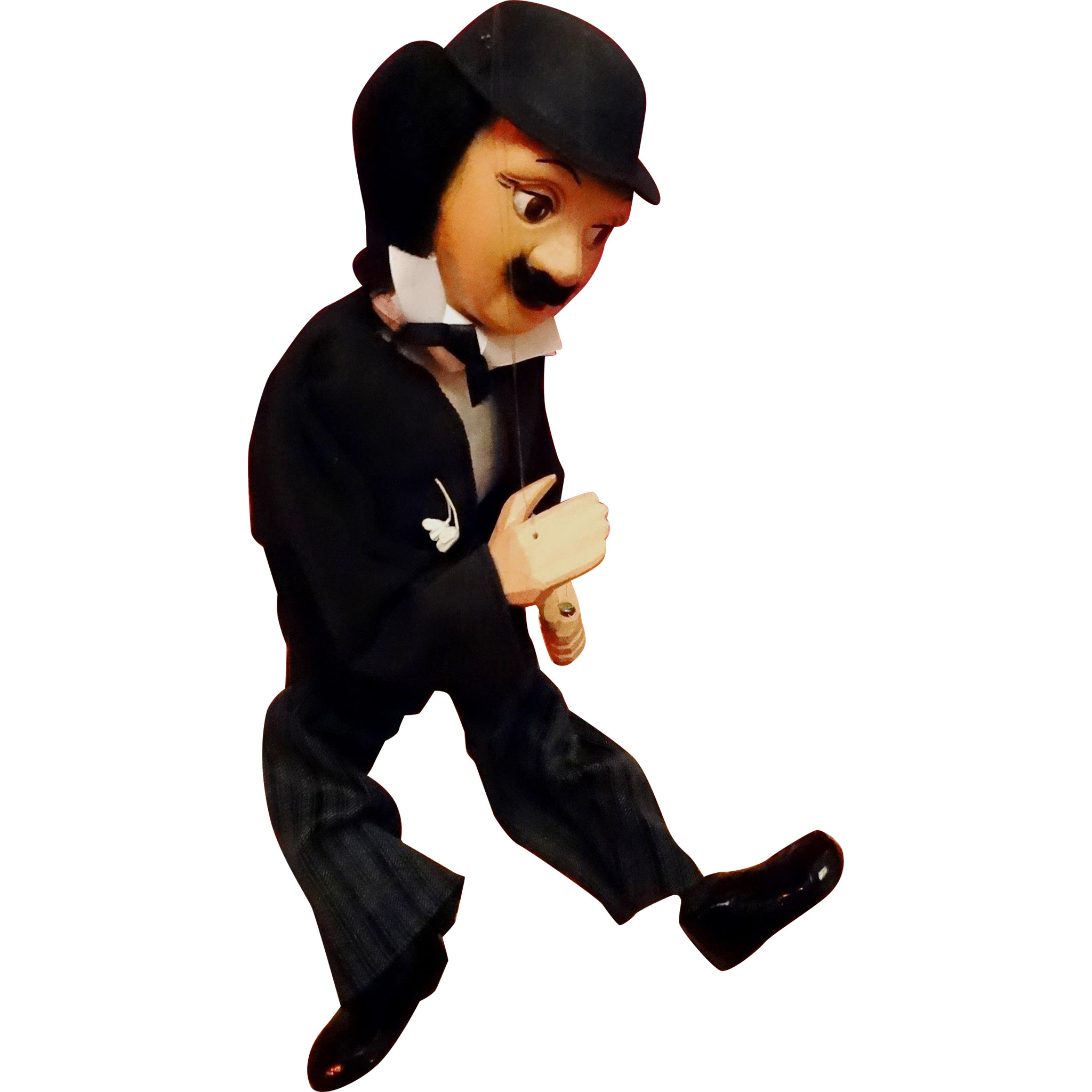 Charlie Chaplin Marionette Puppet Wood Carved Vintage MIB