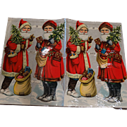 4 Early 20th Century Christmas Santa Die Cuts Unused PLB Germany