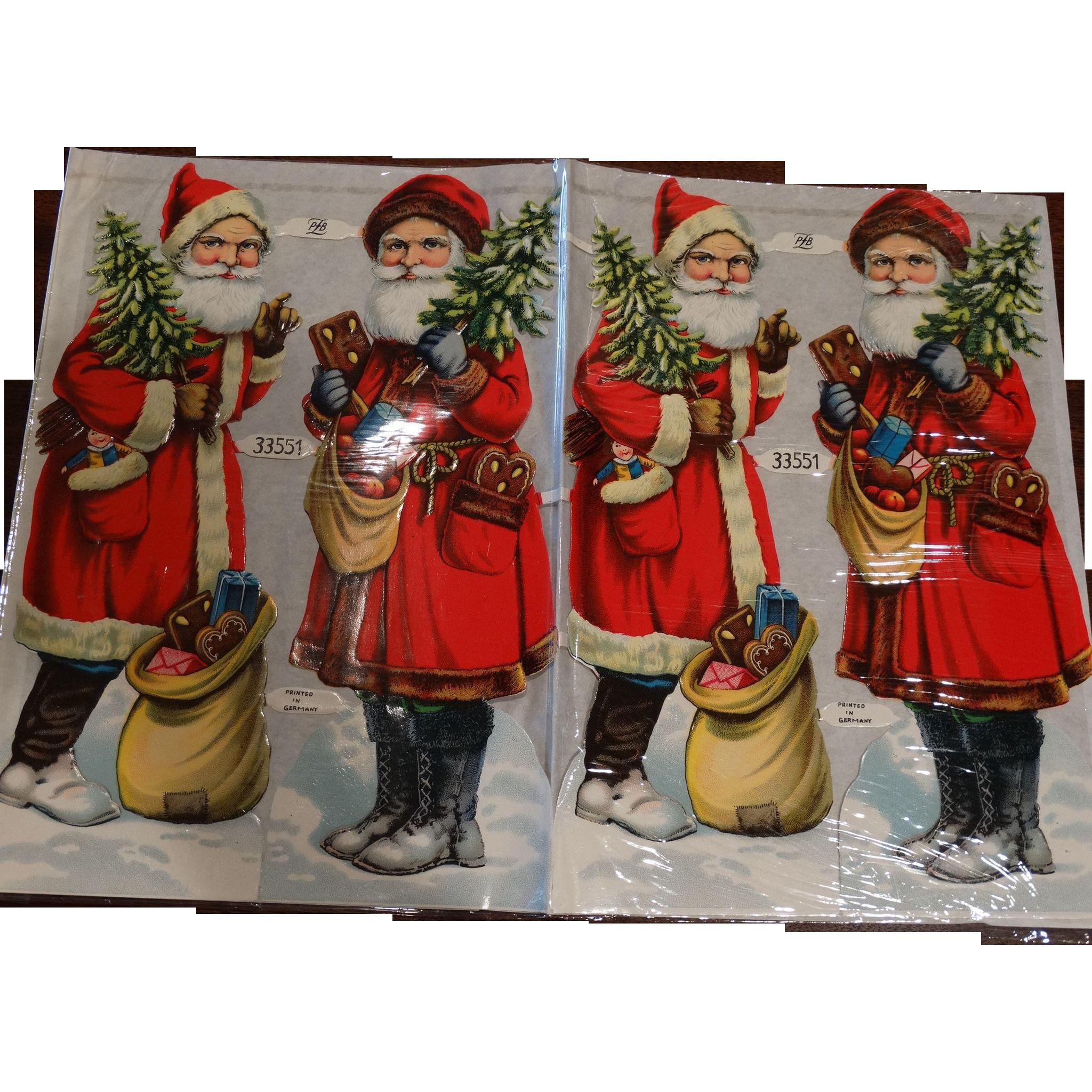 4 Early 20th Century Christmas Santa Die Cuts Unused PLB Germany