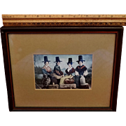 1910 Framed Postcard Chromolithograph Welch Women Stove Pipe Hats British Columbia