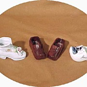 4 Miniature Shoes Dutch Delft Victorian China & Wood Clog Pair Antique & Vintage