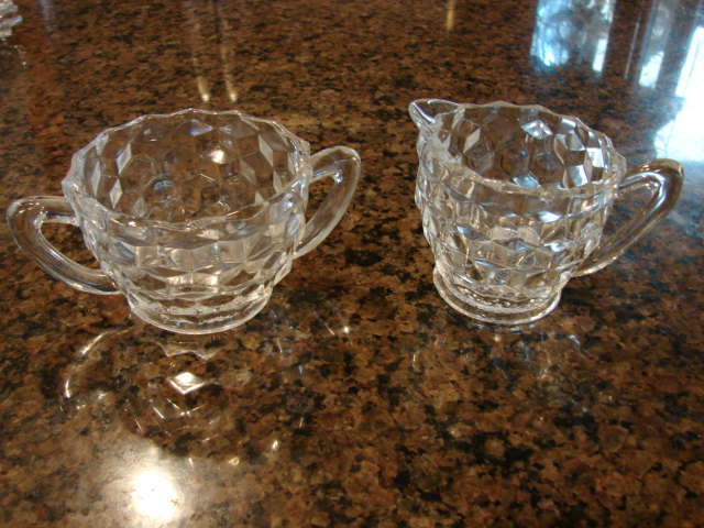 "Fostoria Glass American 2 ¾"" Creamer And 2 ¼"" Sugar Set"