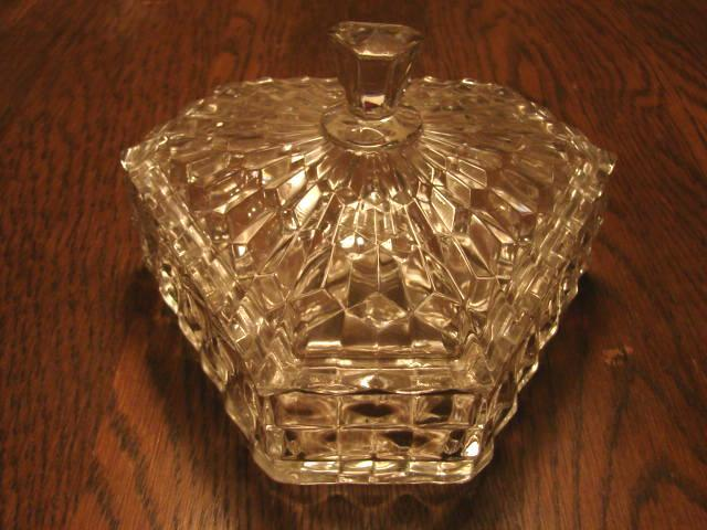 "Fostoria Glass American Scarce 6"" Tri Corn Candy Dish"