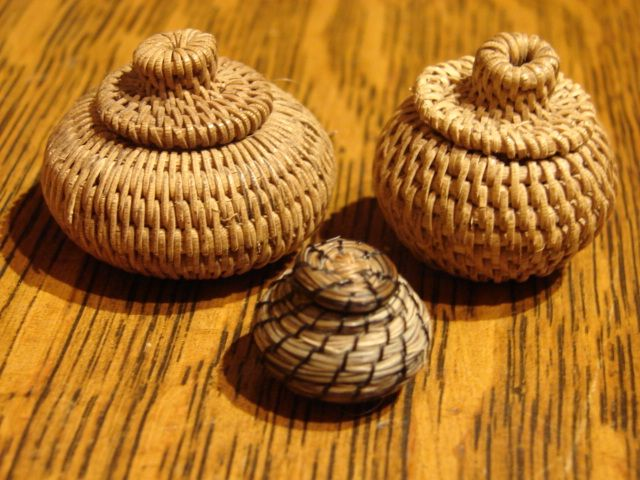 3 Miniature Papago Native American Woven  Baskets Dollhouse Size