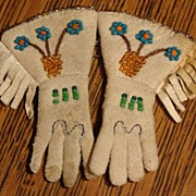 Heirloom Pair Native American Miniature Beaded Gauntlets Gloves Leather Rare Free Shipping