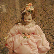 "Bisque Doll Heirloom Vintage Dollhouse  6""Gowned Lady"