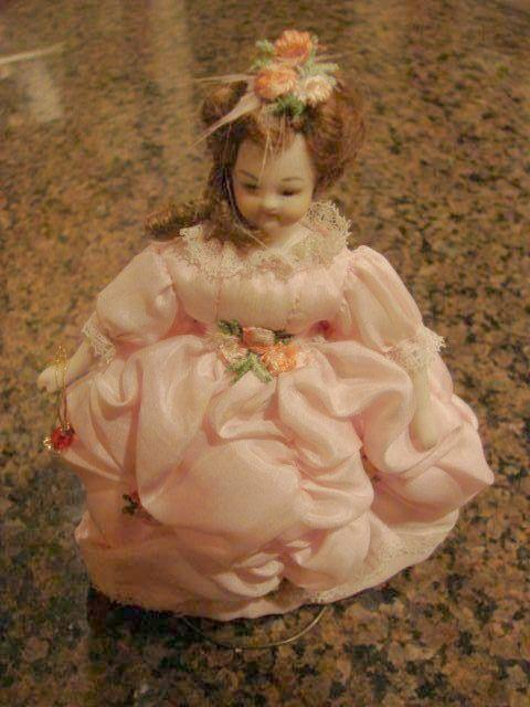 Heirloom Dollhouse Gowned Lady Bisque Doll 6""