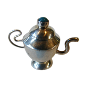 Sterling Silver Doll House Cabinet Miniature Teapot Turquoise Finial Vintage Handmade