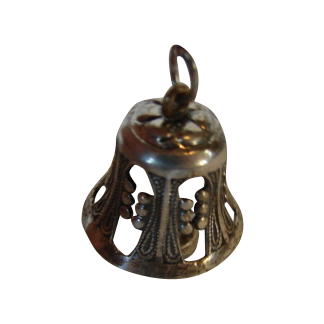 Sterling Silver Miniature Bell Large Charm Dollhouse Vintage Heirloom