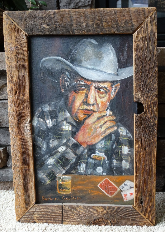 """The Gambler"" Original Oil NW Artist Barbara Gardner Western Art"
