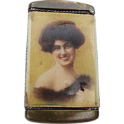 Beautiful Lady Advertising Match Safe Depot Inn Portland Oregon Antique